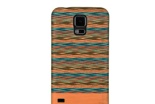 【GALAXY S5】 天然木 Real wood case Harmony Browny check (リアルウッドケース ハーモニーブラウニーチェック) ブラックフレーム