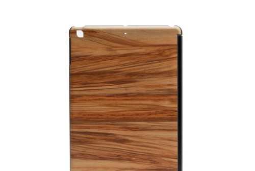 【iPad Air】 Real wood case Genuine Cappuccino(リアルウッドケース ジェニュイン カプチーノ)ブラックフレーム カバー付き