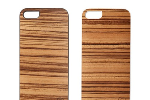 【iPhone SE/5/5s】 Man&Wood Real wood case Genuine Zebrano(マンアンドウッド ゼブラノ)アイフォン 天然木
