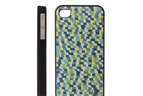 【iPhone 4s/4】 天然木 Man&Wood Real wood case Caleido Gogh blue touch カレイド ゴッホブルータッチ バータイプ I935i4S