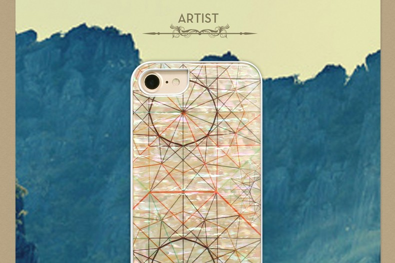 【iPhone7 ケース】ikins 天然貝ケース Artist(アイキンス テンネンガイ アーティスト)アイフォン カバー ホワイトフレーム