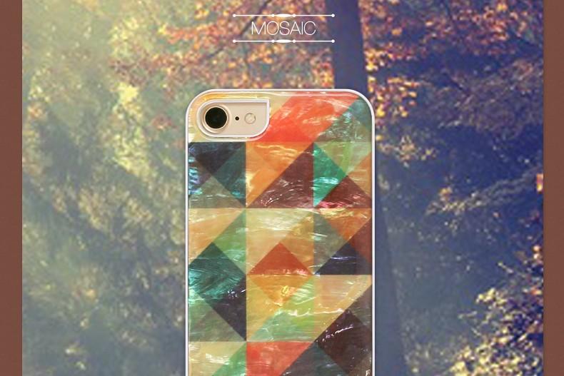 【iPhone7 ケース】ikins 天然貝ケース Mosaic(アイキンス テンネンガイ モザイク)アイフォン カバー ホワイトフレーム