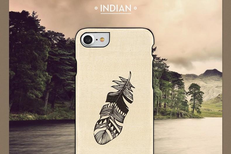 【iPhone7 ケース】天然木 Man&Wood Premium Indian(マンアンドウッド プレミアム インディアン)アイフォン カバー 木製