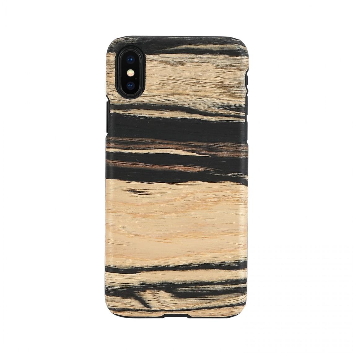 iPhone XR ケース 天然木 Man&Wood White Ebony(マンアンドウッド ホワイトエボニー)