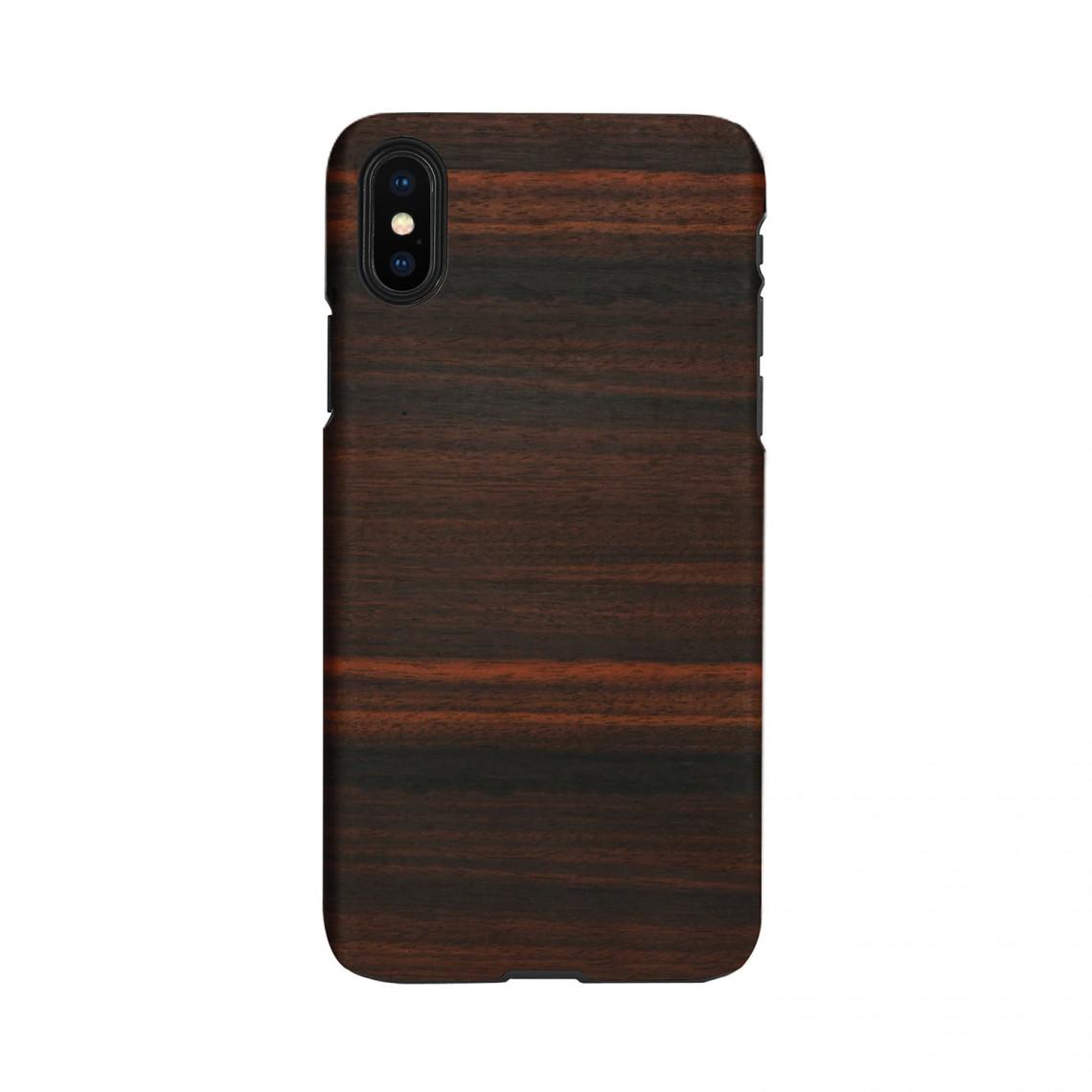 iPhone XR ケース 天然木 Man&Wood Ebony (マンアンドウッド エボニー)