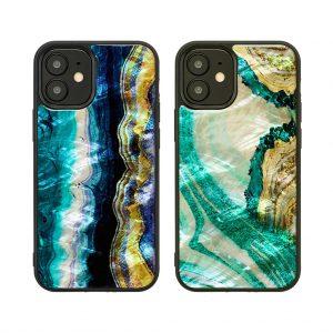 2020年 新型 iPhone 12 mini 対応 ケース ikins 天然貝ケース Marble