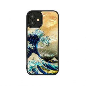 2020年 新型 iPhone 12 mini 対応 ケース ikins 天然貝ケース 神奈川沖浪裏