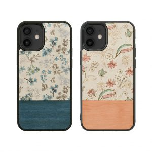 【iPhone 12 mini ケース】Man&Wood Flower【天然木ケース】