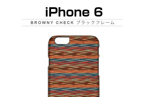 【iPhone6s/6】 天然木 Man&Wood Browny check (マンアンドウッド ブラウニーチェック)アイフォン