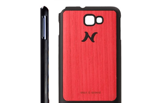 【Galaxy Note】 天然木 Man&Wood wood-fit Poroporo Red I1238GNT