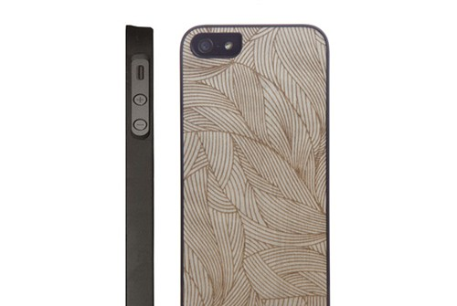 【iPhone SE/5/5s】 Man&Wood Real wood case Engraving Ivy (マンアンドウッド エングレイビングアイビー) アイフォン 天然木