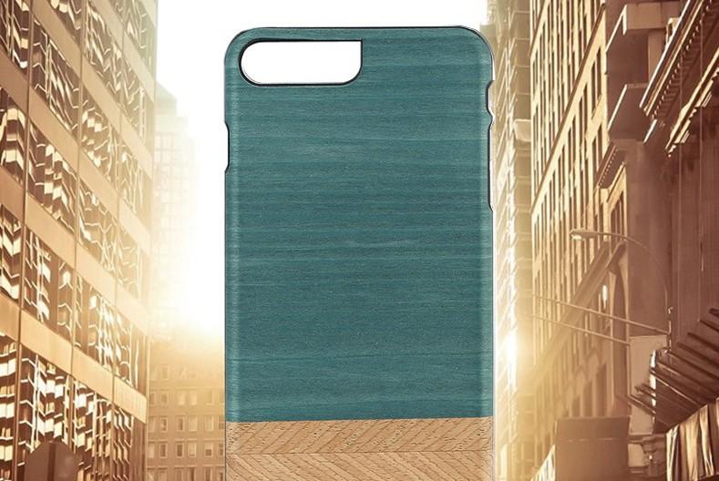 【iPhone7 Plus ケース】天然木ケース Man & Wood Denim (マンアンドウッド デニム)