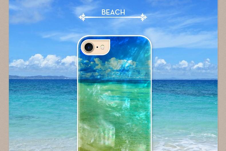 【iPhone7 ケース】ikins 天然貝ケース Beach(アイキンス テンネンガイ ビーチ)アイフォン カバー ホワイトフレーム